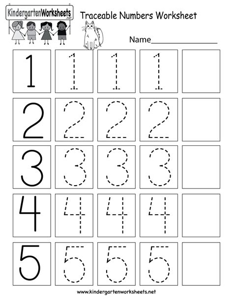 free printable kindergarten numbers traceable numbers worksheet free kindergarten math