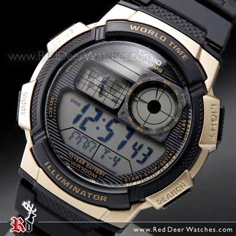 Casio Ae1000 Black buy casio black gold digital world time 100m digital