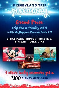 100 Disney Gift Card - contest win a trip to disneyland or 1 of 3 100 disney gift cards