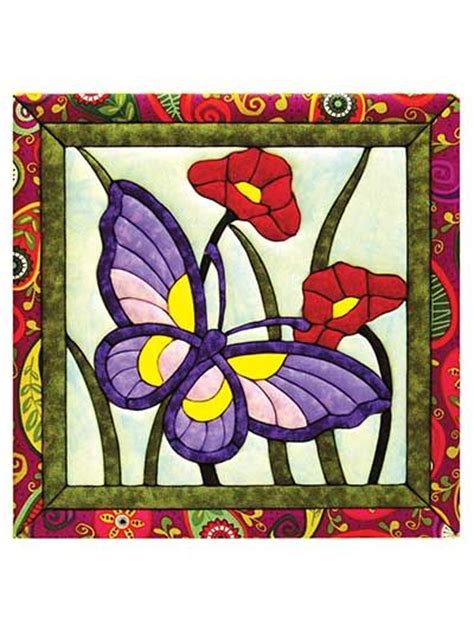 Honeysuckle Stained Glass And Patchwork - butterflies quilt magic kit quilts tablerunners