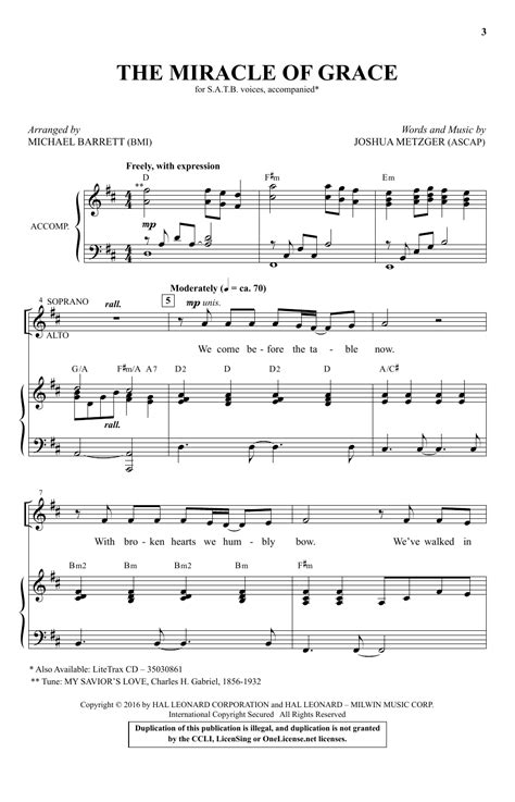 The Miracle Of Grace the miracle of grace arr michael barrett choral satb