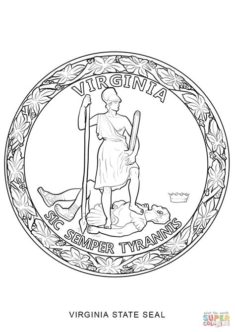 Virginia Jurisdiction Search Virginia State Seal Coloring Page Free Printable Coloring Pages