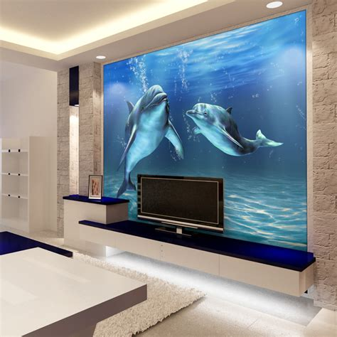 dolphin wallpaper for bathroom mural 3d ocean dolphin mural wallpaper sofa bathroom tv