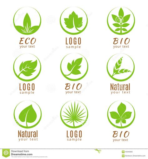 Beschriftung Laubblatt by Nature Logo Set Or Ecology Labels With Green Leaves