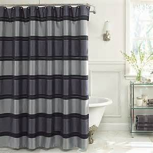 Navy Grey Curtains Jardin Stripe 72 Inch X 72 Inch Fabric Shower Curtain In