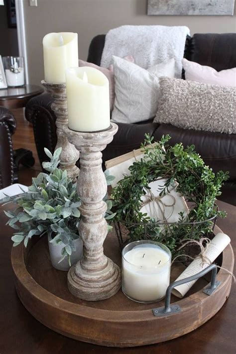 farmhouse vignette farmhouse tray farmhouse candlesticks  books candle greenery pages