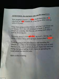Break Letter Cheating Wife neighbor charles who lives at is having an affair with my wife