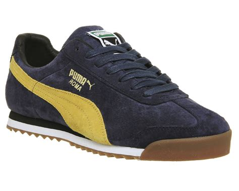 roma suide roma navy yellow suede exclusive trainers shoes ebay