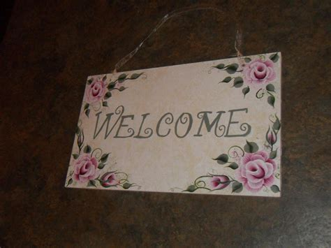 shabby cottage chic welcome hand painted rose sign new plaques signs