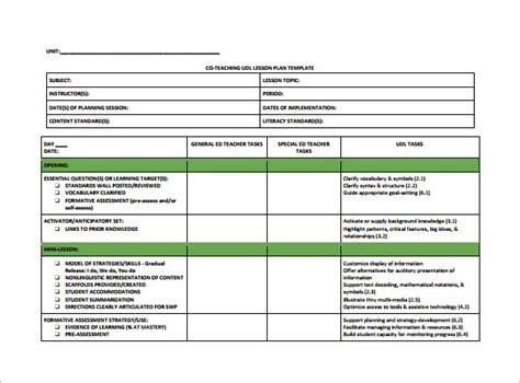 Inclusion Lesson Plan Template inclusion lesson plan template educ 115 k 12 program