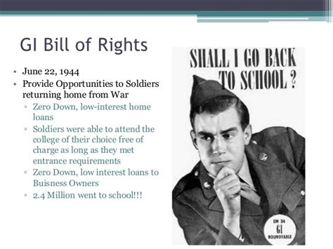 Free Mba Gi Bill by Tengowski I 3 Post Wwii Economic Social Concerns