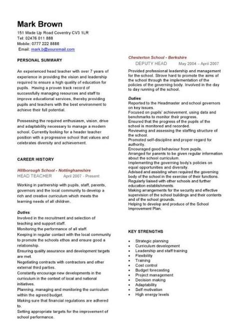 format cv for teachers teaching cv template job description teachers at school