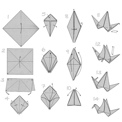 Origami Bird Directions - craft origami flapping paper crane mobile