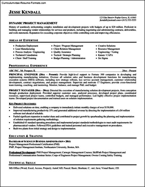 project manager resume template word free sles