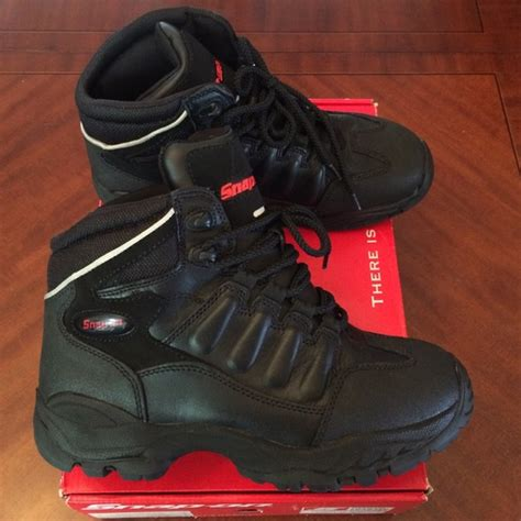 snap on boots snap on shoes black leather boots heavy duty new 10