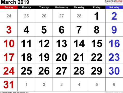 March 2019 Calendars For Word Excel Amp Pdf