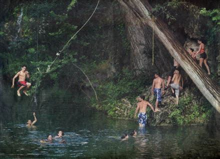 rope swing over water cool clear water water joe nick patoski