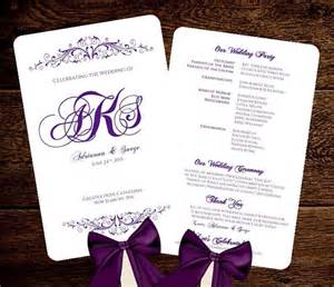wedding fan templates free wedding fan program template purple monogram printable