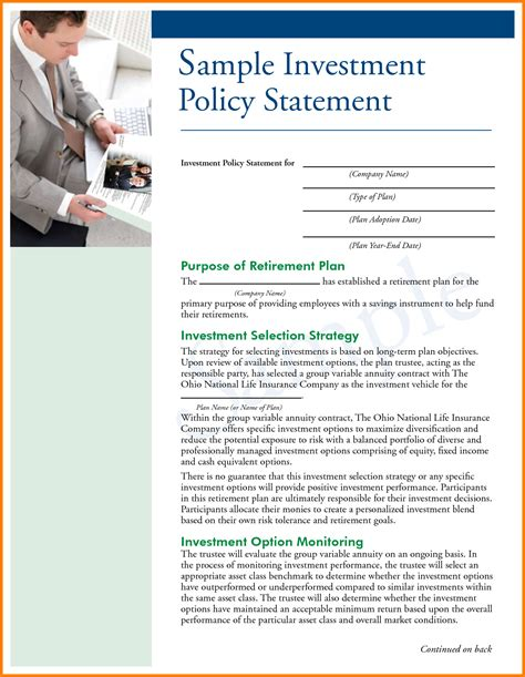 11 Investment Policy Statement Sles Case Statement 2017 Investment Policy Statement Template