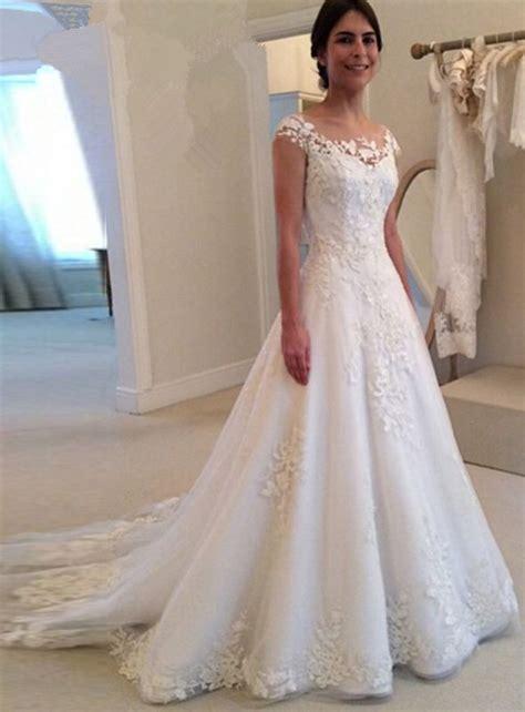 glamorous cap sleeve lace appliques wedding dresses