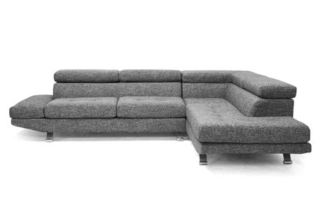 twill sectional sofa baxton studio adelaide gray twill fabric modern sectional