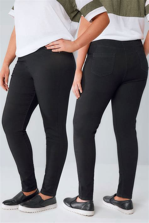 most comfortable jeggings black pull on stretch jeggings plus size 14 to 32