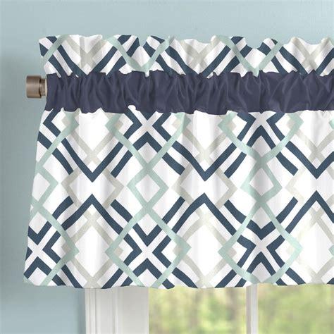 geometric pattern valance navy and gray geometric window valance rod pocket