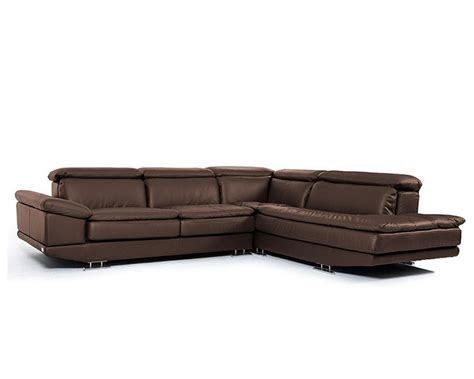 modern brown italian leather sectional sofa 44l5979