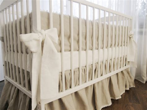 linen crib bedding gathered skirt and 4 side bumper