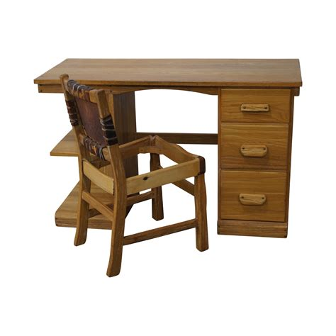 Ranch Oak Desk by Brandt Ranch Oak Rustic Writing Desk Chair Chairish