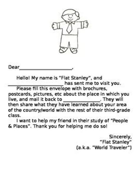 flat stanley letter template flat stanley letter for students of all ages