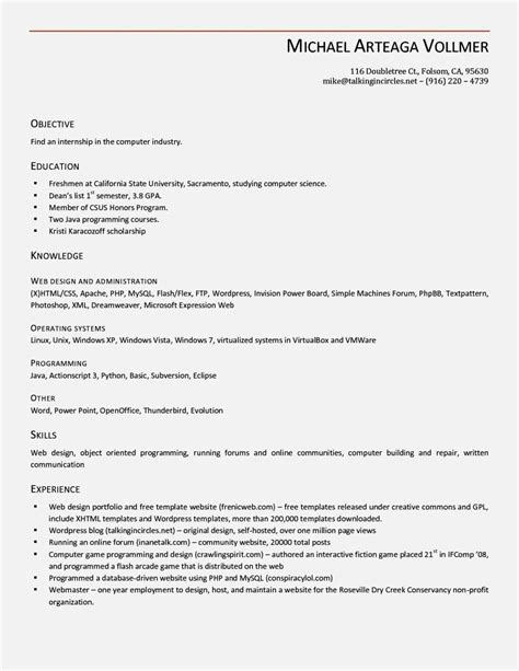 Resume Templates Open Office by Open Office Resume Template Beepmunk