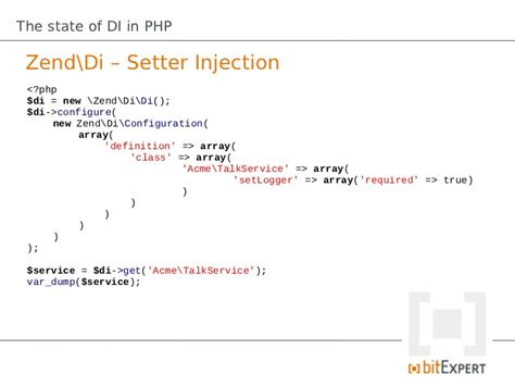 setter dump shot the state of di in php phpbnl12