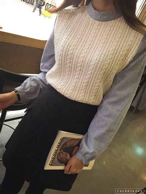 Baju Atasan Kerja Kemeja Rajut Knit Blouse Korea Import Hitam Putih baju atasan wanita rajut lengan panjang model terbaru jual murah import kerja
