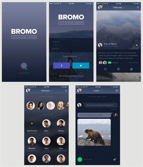 Bromo Free Social Media App Psd Template Codesmite Social Media App Template
