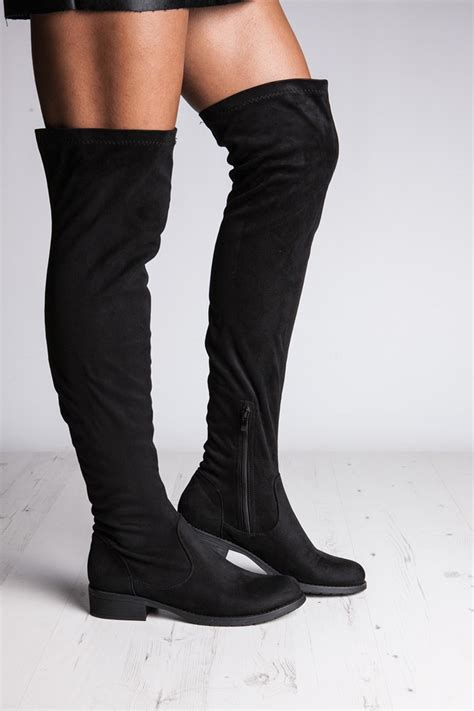 willow black suede the knee boots misspap