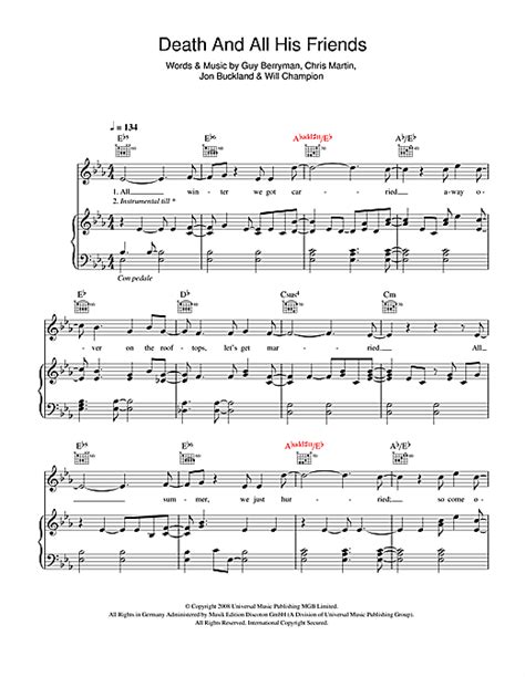 coldplay death and all his friends coldplay death and all his friends sheet music