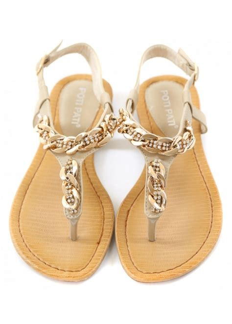 chain flat sandals gold chain toe post sandals cheap pretty sandals for the