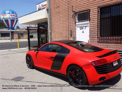 audi r8 wrapped audi r8 wrapped in matte red by dbx black