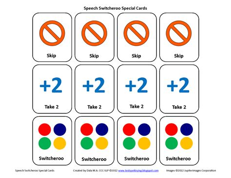 printable uno card template testy yet trying speech card set activity speech