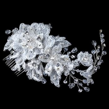 Anting Rhinestone Color Floral Ring silver ivory lace rhinestone bead swarovski