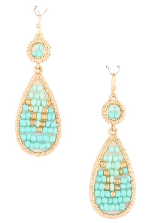 bead earrings seed bead teardrop earrings