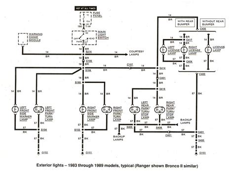car wiring diagram exterior lights 1983 to 1989 interior