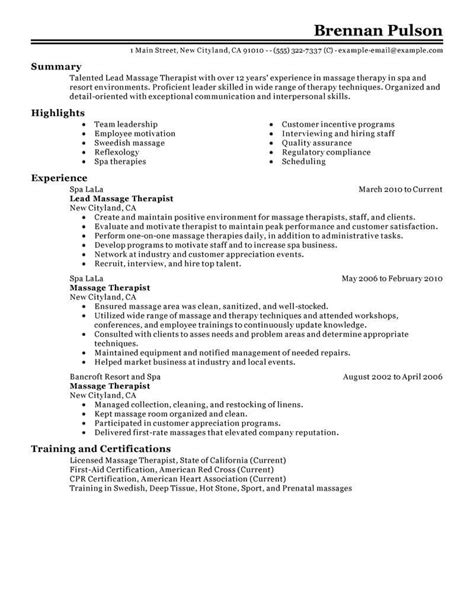 Lead Therapist Cover Letter by Best Lead Therapist Resume Exle Livecareer