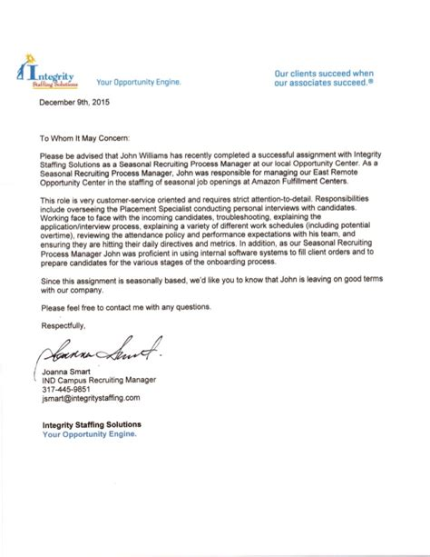 Letter Of Recommendation Integrity integrity staffing letter of recommendation pdf