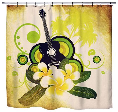 hawaiian shower curtain hawaiian plumeria and guitar shower curtain beach style