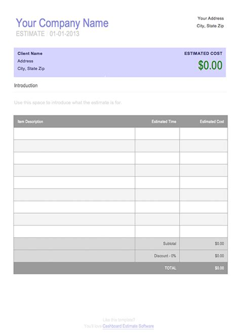 estimate quote template free invoice timesheet templates cashboard