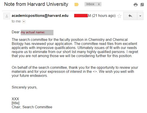 Rejection Letter Due To Failed Screen Chemjobber A Recent Harvard Chemistry Faculty Application Rejection Letter