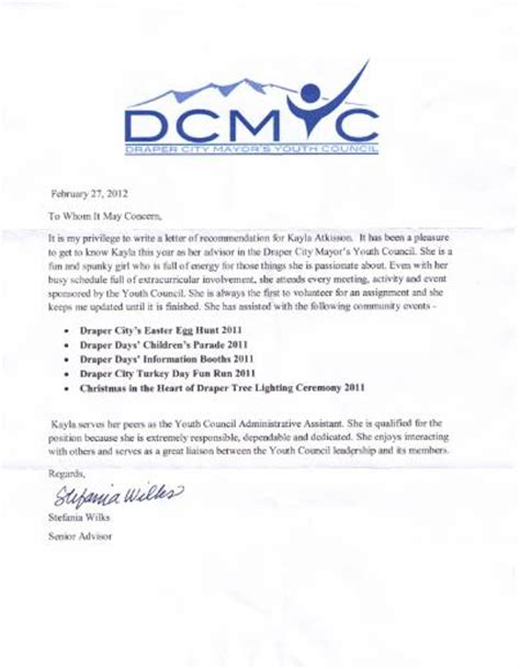 Recommendation Letter For From Mayor Fbla Electronic Career Portfolio