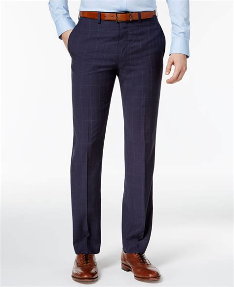 dress pants shop for mens dress pants and apparel calvin klein men s slim fit navy windowpane dress pants in